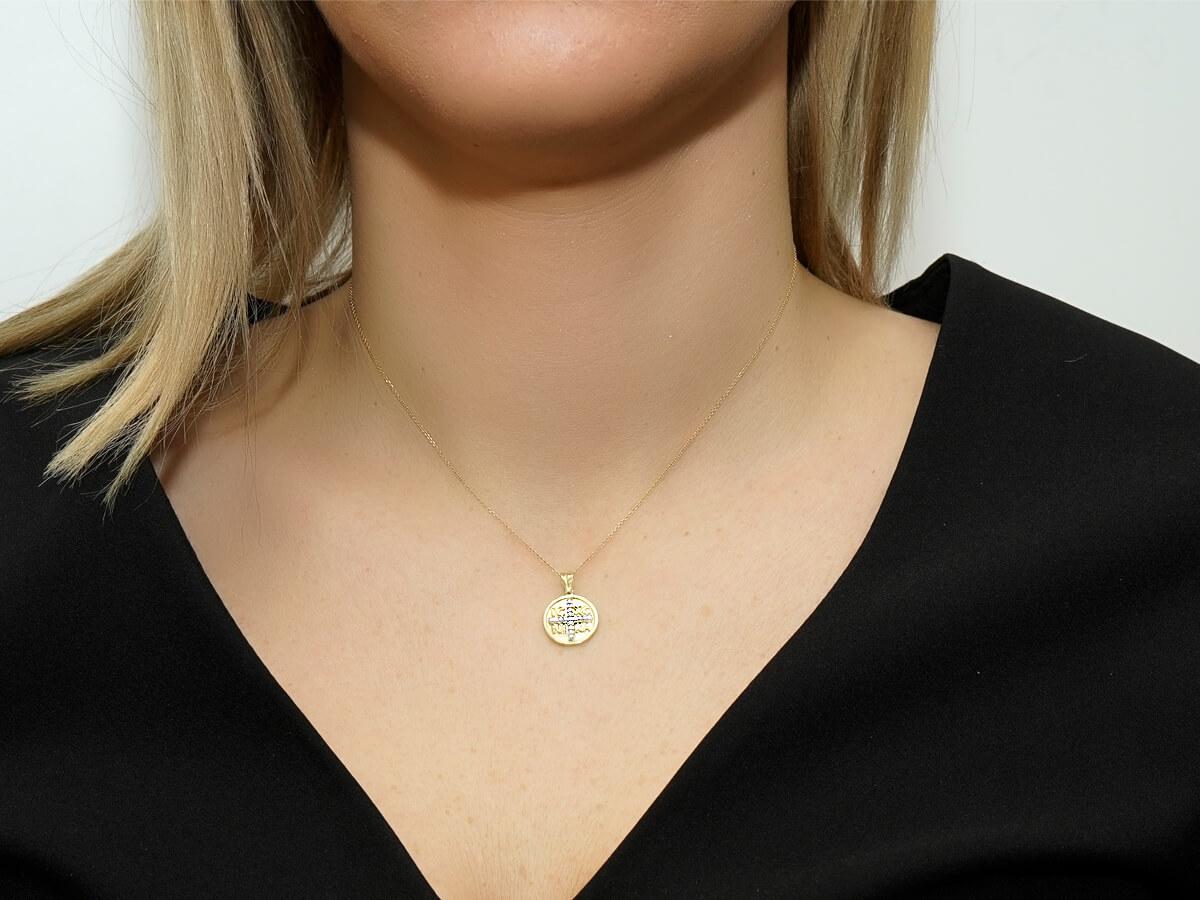 Χρυσό Φλουρί Κωνσταντινάτο Διπλής Όψεως 9 Καρατίων Ζιρκόν Πέτρες Γέννηση Βάπτιση Κορίτσι Γυναίκα