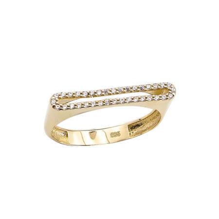 Χρυσό Μοντέρνο Δαχτυλίδι 14 Καράτια Ζιργκόν Πέτρες
