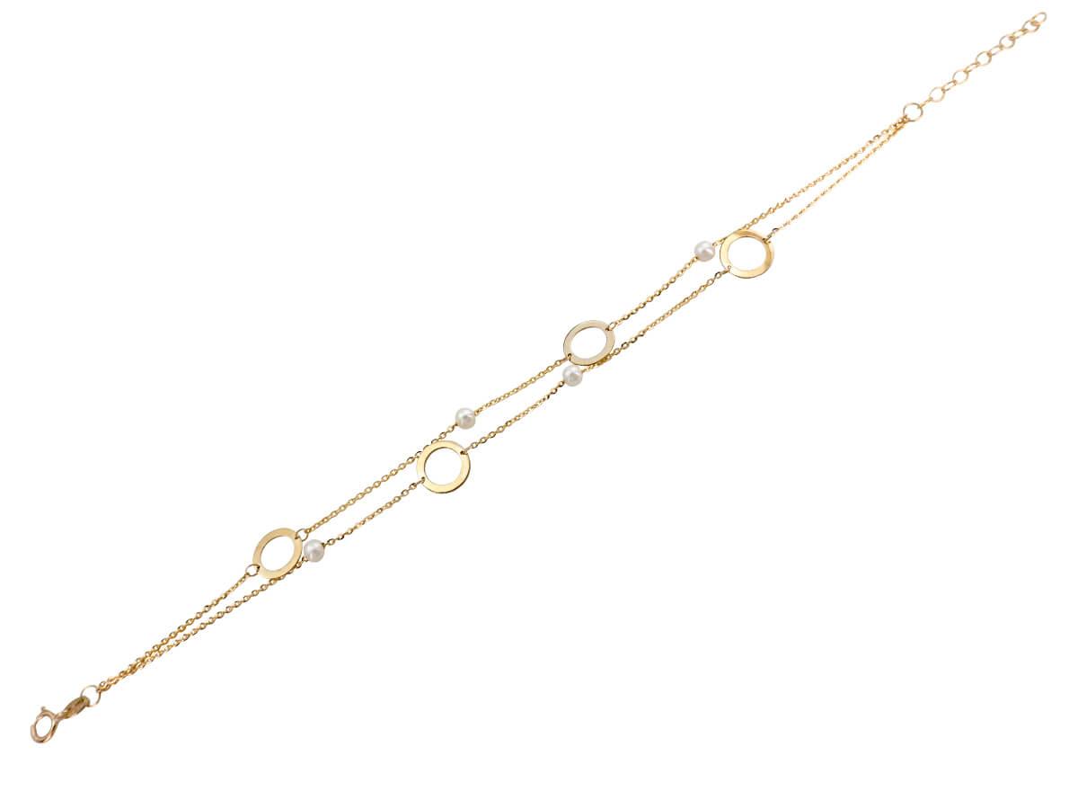 Χρυσό Βραχιόλι 9 Καράτια Διπλή Αλυσίδα Μοτίφ Μαργαριτάρια
