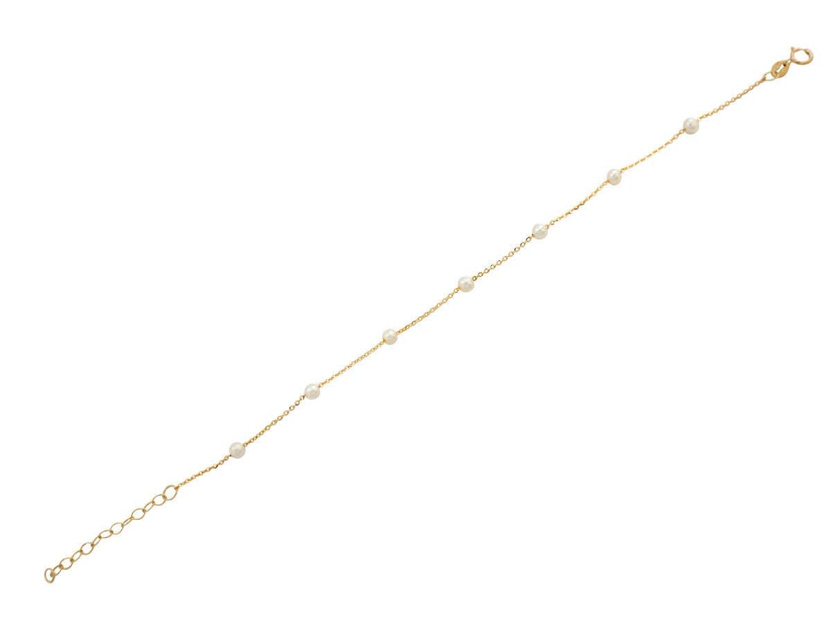 Χρυσό Βραχιόλι 9 Καράτια Με Λευκά Μαργαριτάρια