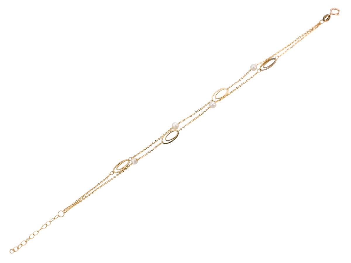 Χρυσό Βραχιόλι 9 Καράτια Με Μαργαριτάρια Διπλό Μοτίφ