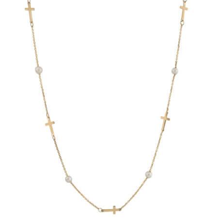 Χρυσό Κολιέ 9 Καράτια Με Μαργαριτάρια Σταυρουδάκια