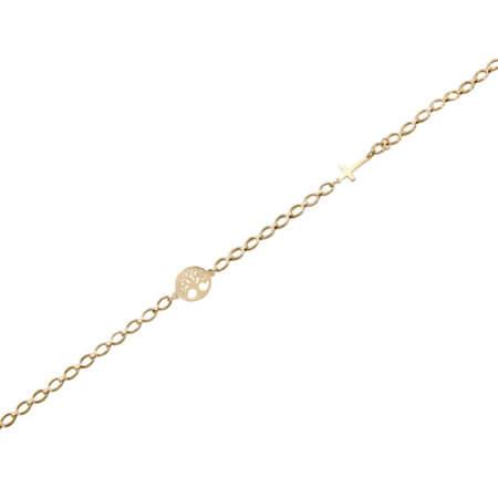 Χρυσό Βραχιόλι 9 Καράτια Σταυρουδάκι Δέντρο Ζωής Γυναικείο