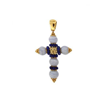 Χρυσός Σταυρός 18 Καράτια Αχάτης lapis Lazuli Γυναικείος