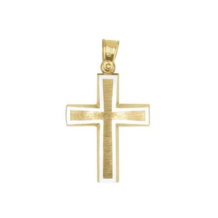 Χρυσός Σταυρός Διπλής Όψεως με Λευκόχρυσα Στοιχεία 14 καράτια Αρραβώνας Βάπτιση