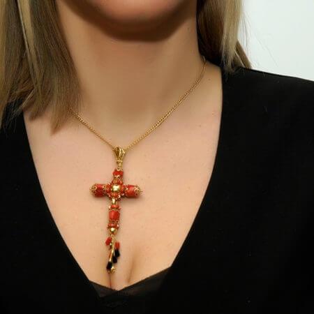 Γυναικείος Χρυσός Σταυρός Κοράλλια 18 Καράτια