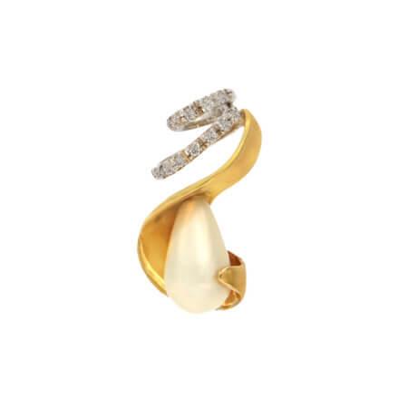 Χρυσό Μενταγιόν 18 Καράτια Μαργαριτάρι Διαμάντια