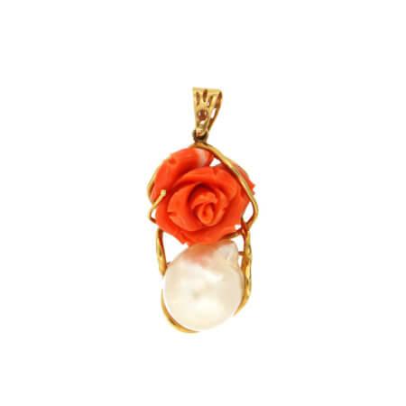 Χρυσό Μενταγιόν Τριαντάφυλλο Μαργαριτάρι 18 Καράτια
