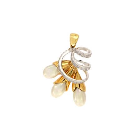 Χρυσό Μενταγιόν Με Διαμάντια Μπριγιάν Μαργαριτάρια 18 Καράτια