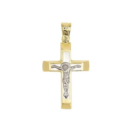 Χρυσός Σταυρός 14 Καράτια Με Λευκόχρυσα Στοιχεία Διπλής Όψεως Βάπτιση Αρραβώνας Γάμος