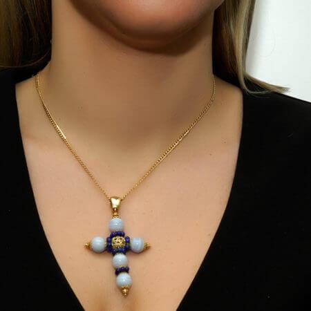 Χρυσός Σταυρός 18 Καράτια Γυναικείος Αχάτη Lapis Lazuli