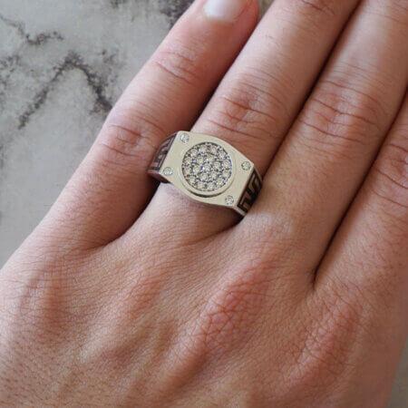 Αντρικό Δαχτυλίδι Λευκόχρυσο 14Κ Ζιργκόν