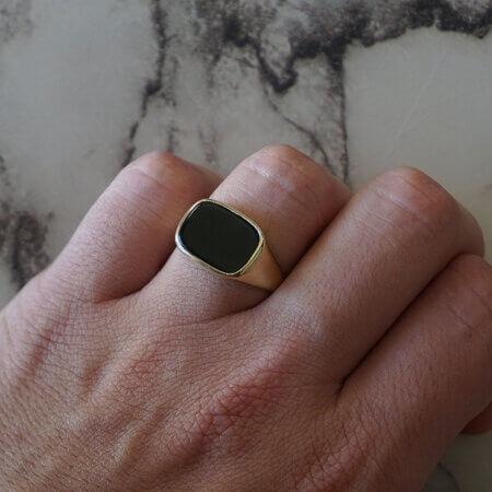 Αντρικό Χρυσό Δαχτυλίδι Μαύρο Όνυχα