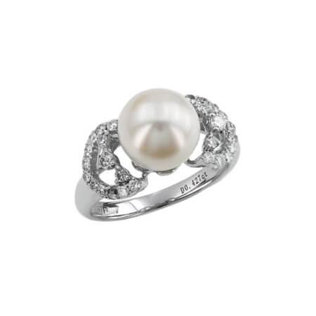 Δαχτυλίδι 18 Καράτια Λευκόχρυσο Διαμάντια Μαργαριτάρι