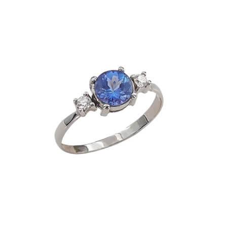 Λευκόχρυσο Δαχτυλίδι 18 Καράτια Διαμάντια Τανζανίτη