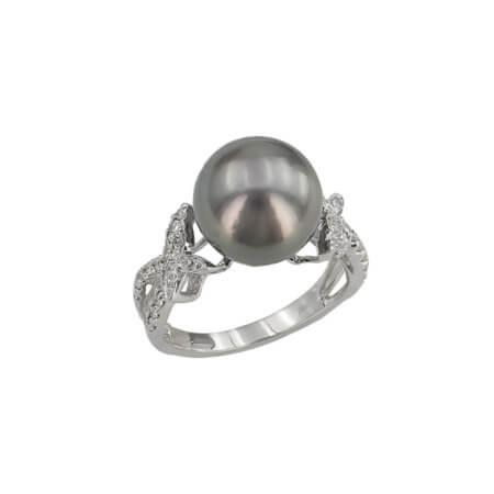 Δαχτυλίδι Με Μαύρο Μαργαριτάρι 18 Καρατίων Διαμάντια