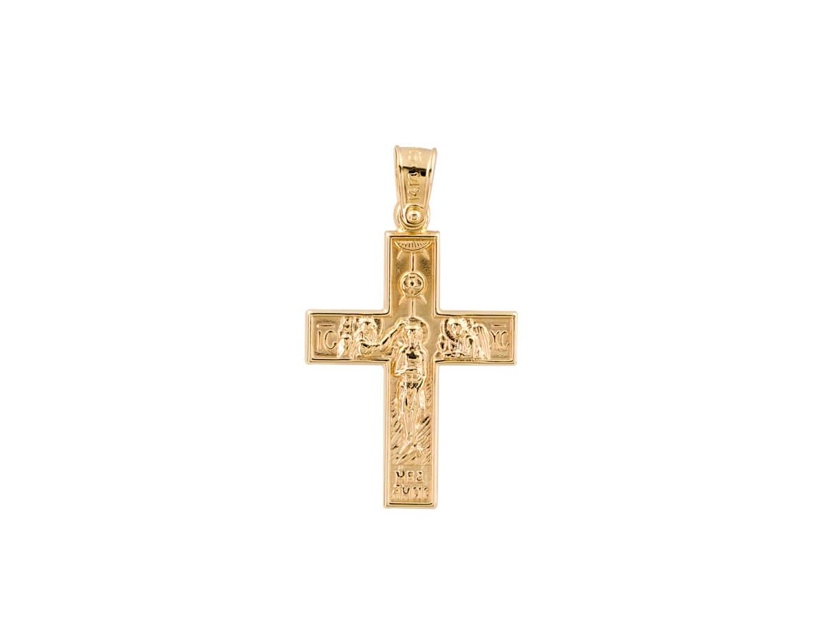 Διπλής Όψεως Χρυσός Σταυρός 14 Καράτια Βάπτιση Γάμος