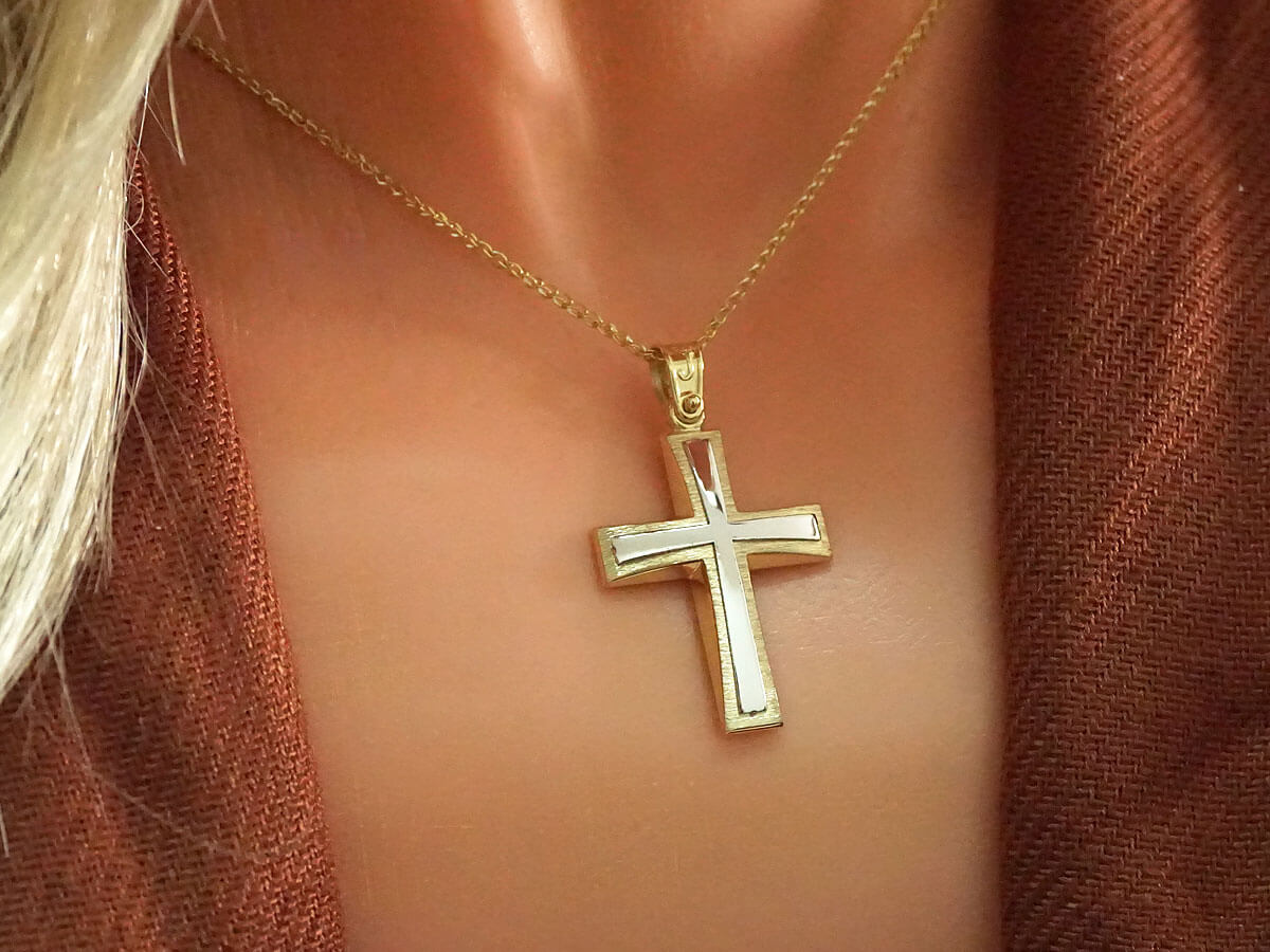 Γυναικείος και Ανδρικός Χρυσός Σταυρός Διπλής Όψης 14Κ