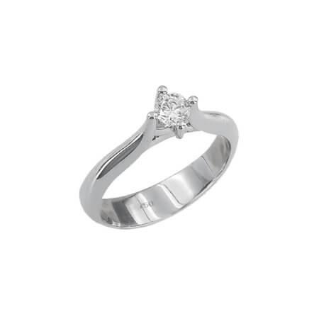 Γυναικείο Μονόπετρο Λευκόχρυσο Δαχτυλίδι 18 Καρατίων Διαμάντι