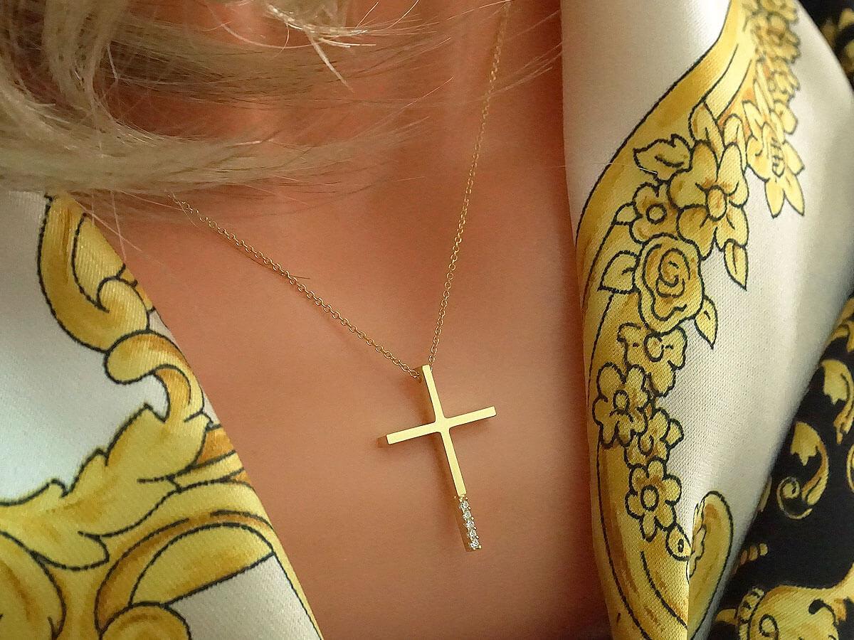 Κίτρινος Χρυσός Σταυρός με Αλυσίδα 9Κ Ζιργκόν Πέτρες Λευκές Γυναικείος