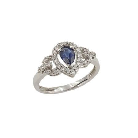 Λευκόχρυσο Δαχτυλίδι 18 Καρατίων Δάκρυ Διαμάντια Ζαφείρι