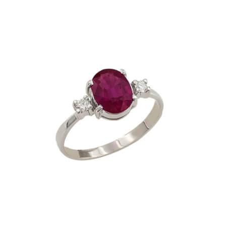 Λευκόχρυσο Δαχτυλίδι Με Διαμάντια Ρουμπίνι 18 Καρατίων