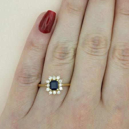 Χρυσό Δαχτυλίδι Ροζέτα 18 Καρατίων Ζαφείτι Διαμάντια brilliant Γυναικείο