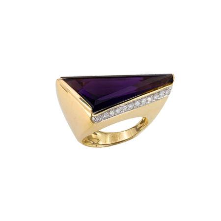Χρυσό Δαχτυλίδι Διαμάντια Αμέθυστο 18 Καράτια