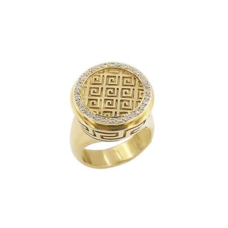 Χρυσό Δαχτυλίδι Μαίανδρος Διαμάντια 18 Καράτια
