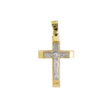Χρυσός Σταυρός 14 Καράτια Διπλής Όψεως Εσταυρωμένο