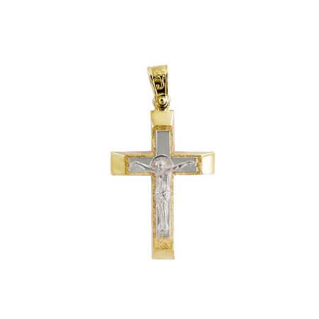 Χρυσός Σταυρός 14 Καράτια Διπλής Όψεως Εσταυρωμένος