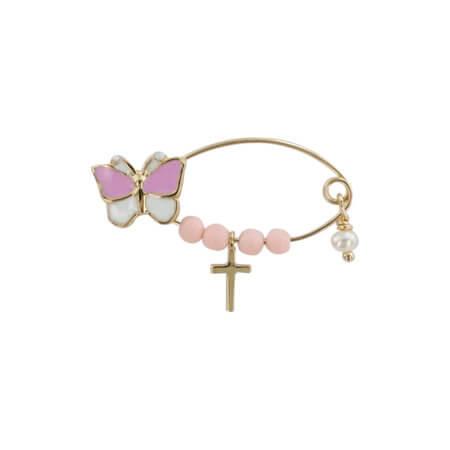Χρυσή Παραμάνα 9 Καράτια Πεταλούδα Σμάλτο Ροζ Πέτρες Σταυρουδάκι Μαργαριτάρι Γέννηση Βάπτιση Κορίτσι