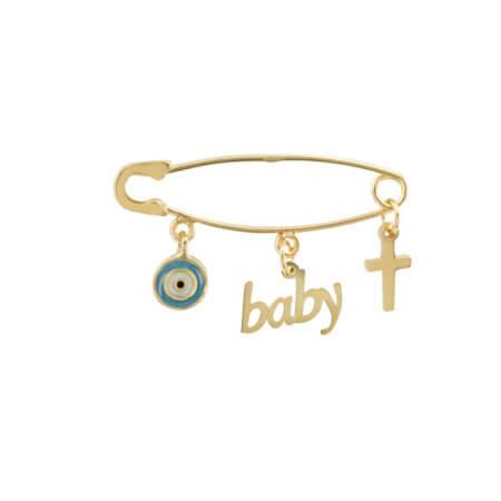 Χρυσή Παραμάνα για Νεογέννητο 9 Καρατίων Ματάκι Σταυρουδάκι Baby Γέννηση Βάπτιση Αγόρι Κορίτσι