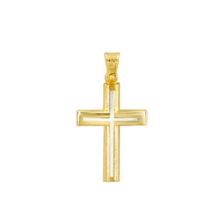 Χρυσός Σταυρός 14 Καράτια Διπλής Όψεως Λευκόχρυσα Στοιχεία Βάπτιση Αρραβώνας Γάμος