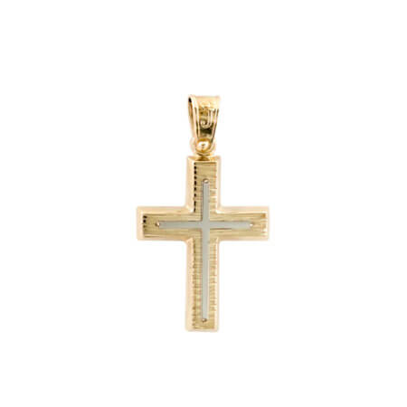 Χρυσός Σταυρός 14 Καράτια Λευκόχρυσα Στοιχεία Γυναίκα Κορίτσι