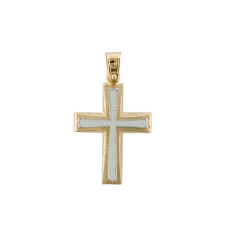 Χρυσός Σταυρός Διπλής Όψης 14 Καρατίων Λευκόχρυσα Στοιχεία Αρραβώνας Βάπτιση Γάμος