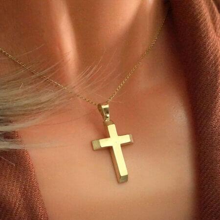 9 Καράτια Χρυσός Βαπτιστικός Σταυρός για Αγόρι και Κορίτσι