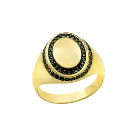 Ανδρικό Χρυσό Δαχτυλίδι 14 Καρατίων Μαύρες Ζιργκόν Πέτρες