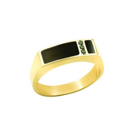 Ανδρικό Δαχτυλίδι με Πέτρα Όνυχα Μαύρη 14 Καρατίων Χρυσό Ζιργκόν Πέτρες