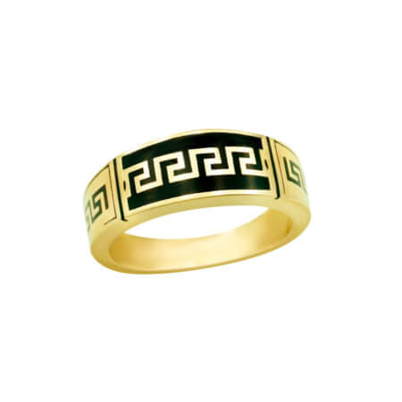 Ανδρικό Δαχτυλίδι Χρυσό 14 Καράτια Σχέδιο Μαίανδρο Μαύρο Όνυχα