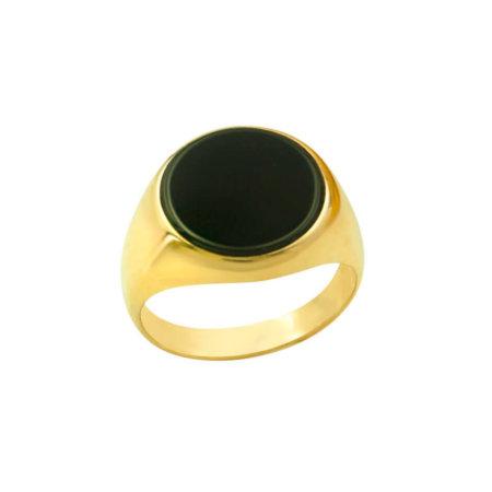 Ανδρικό Χρυσό Δαχτυλίδι 14 Καρατίων Μαύρη Πέτρα Όνυχα