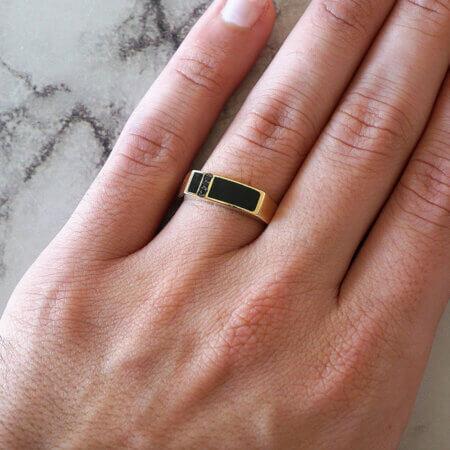 Ανδρικό Δαχτυλίδι με Πέτρα Μαύρο Όνυχα Χρυσό 14Κ