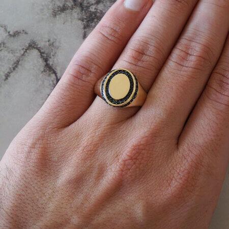 Αντρικό Χρυσό Δαχτυλίδι 14Κ Πέτρες Ζιργκόν