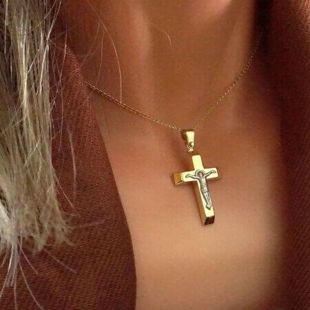 Δίχρωμος Βαπτιστικός Σταυρός Χρυσός 9 Καράτια με Λευκόχρυσο Εσταυρωμένο