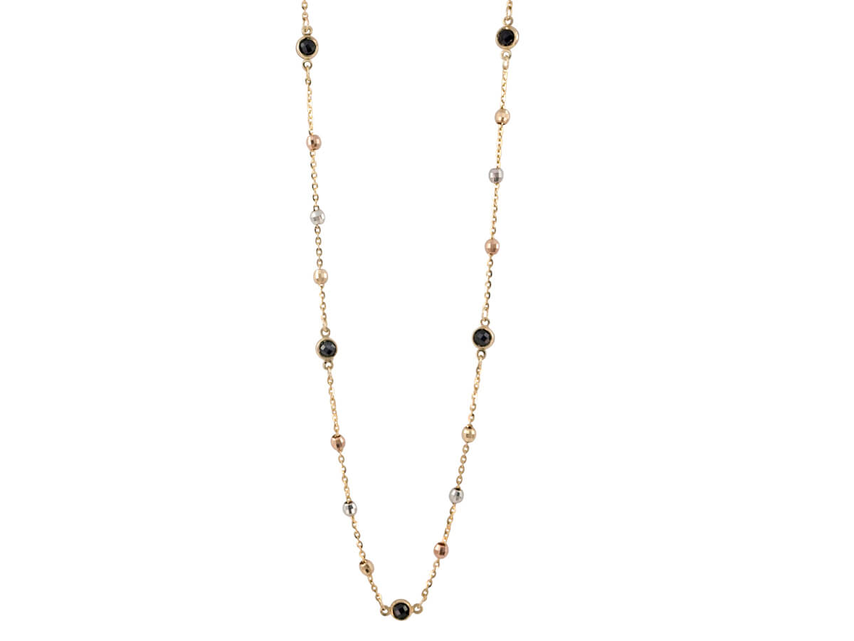 Γυναικείο Χρυσό Κολιέ 9Κ Μαύρες Ζιργκόν Πέτρες