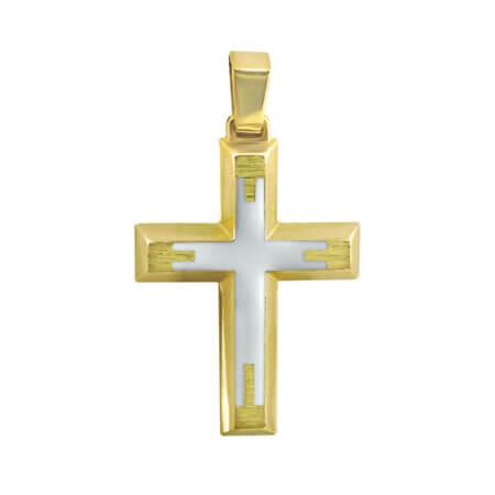 Σταυρός Βάπτισης Διπλής Όψεως Χρυσό 9Κ