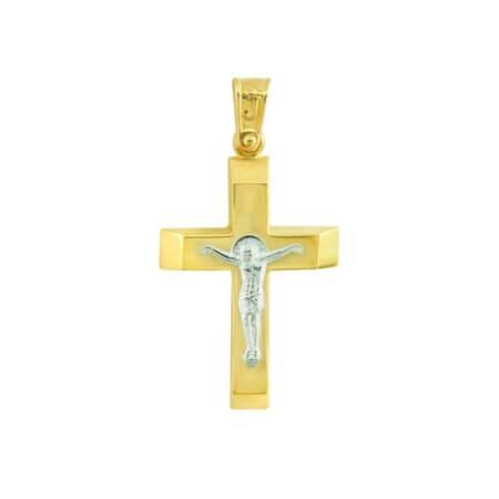 Βαπτιστικός Σταυρός Χρυσός 9 Καρατίων Δίχρωμος Εσταυρωμένο