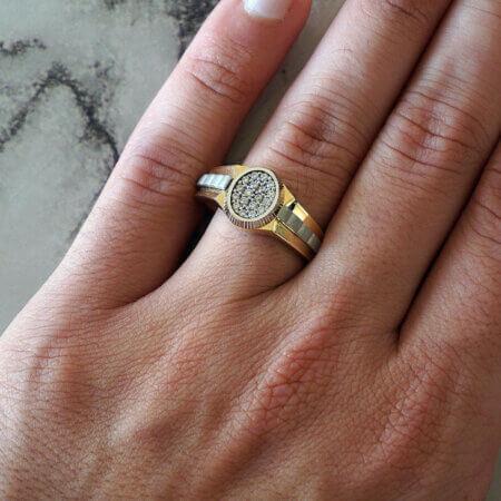 Χρυσό Ανδρικό Δαχτυλίδι με Λευκόχρυσο 14Κ Λευκές Πέτρες