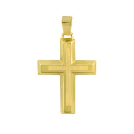 Χρυσός Σταυρός Για Κορίτσι Αγόρι 9Κ Διπλής Όψεως