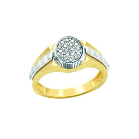 Χρυσό Ανδρικό Δαχτυλίδι με Λευκόχρυσο 14 Καρατίων Ζιργκόν Πέτρες Λευκές